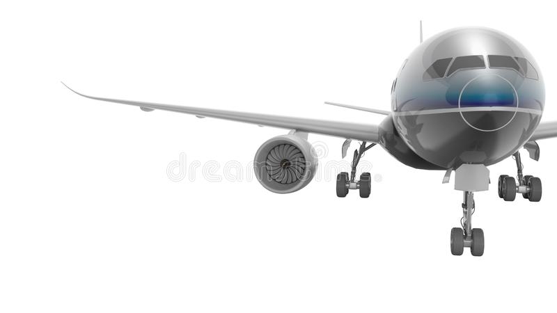 Aviation passenger plane isolated 3d render on white background no shadow. Aviation passenger plane isolated 3d render on white background vector illustration