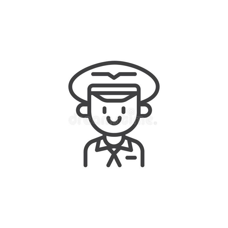 Aviation pilot outline icon. Linear style sign for mobile concept and web design. Portrait of a pilot in hat simple line vector icon. Symbol, logo illustration royalty free illustration