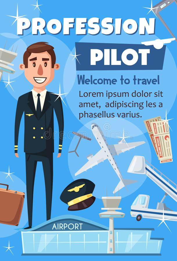 Aviation pilot profession, airport staff. Civil aviation pilot and passenger air transportation. Vector professional pilot crew and airport staff resume or stock illustration