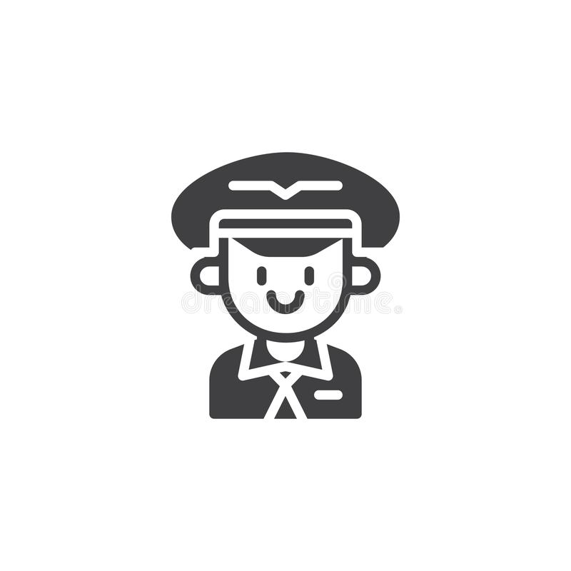 Aviation pilot vector icon. Filled flat sign for mobile concept and web design. Portrait of a pilot in hat simple solid icon. Symbol, logo illustration. Pixel vector illustration