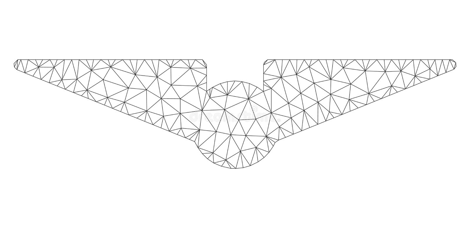 Aviation Polygonal Frame Vector Mesh Illustration. Mesh aviation polygonal 2d illustration. Abstract mesh lines and dots form triangular aviation. Wire frame 2D stock illustration