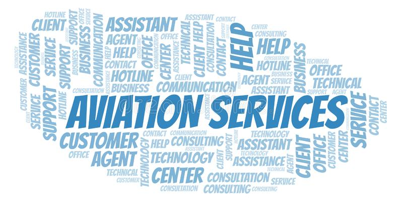 Aviation Services word cloud. Wordcloud made with text only stock illustration