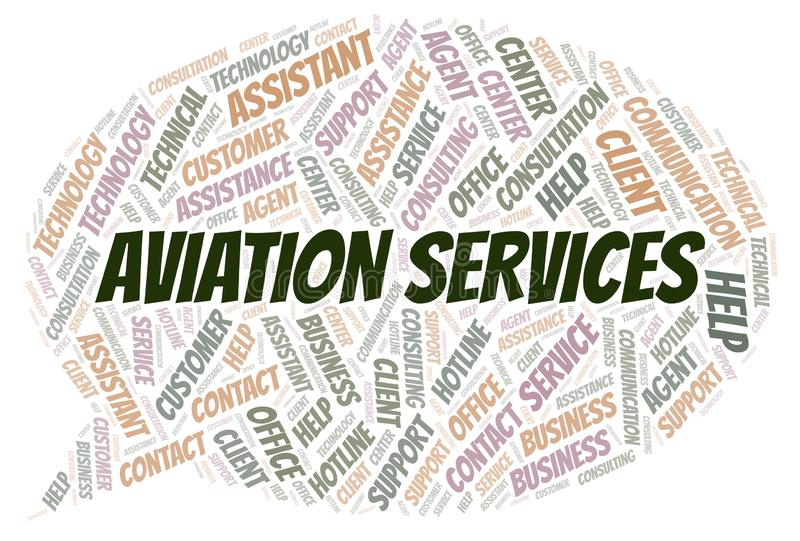 Aviation Services word cloud. Wordcloud made with text only vector illustration
