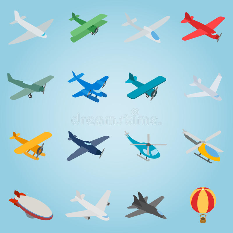 Aviation set icons, isometric 3d style royalty free illustration