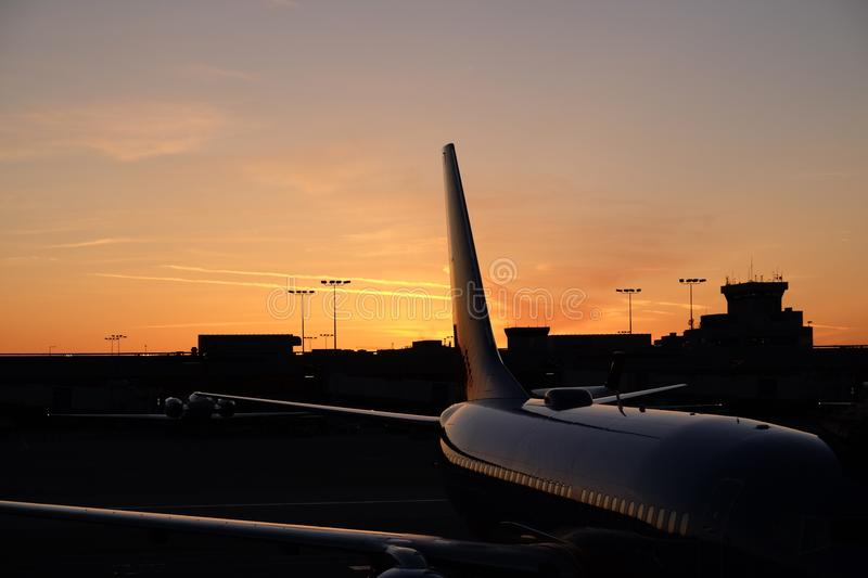 Aviation Sunset stock photo