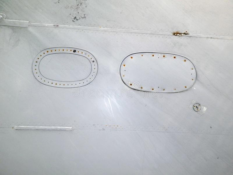 Aviation textures plating of aircraft and helicopter. Rivets royalty free stock photos