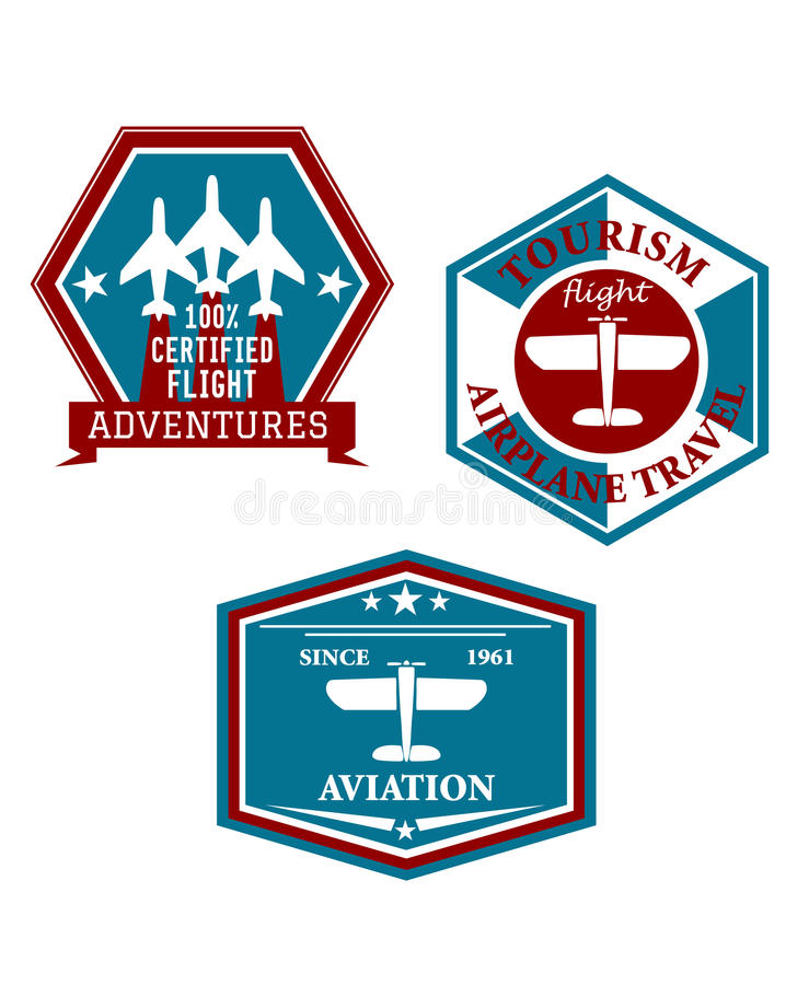 Aviation and tourism emblems. Or badges each in a different shaped frame depicting aircraft with various text for airline travel tours and adventure vector illustration