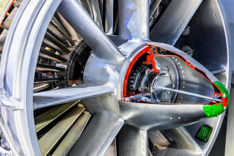 Aviation turbojet engine equipment stock image