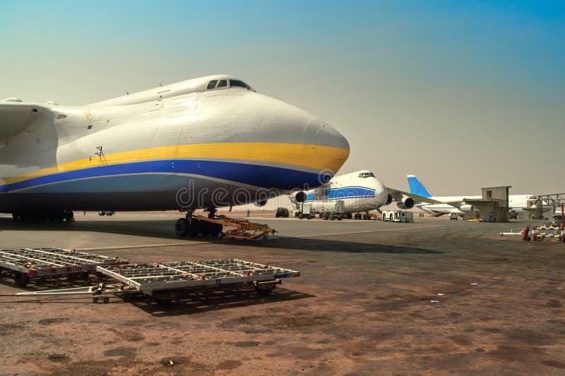 Aviation unites - Russian and Ukrainian aircraft on loading royalty free stock photos