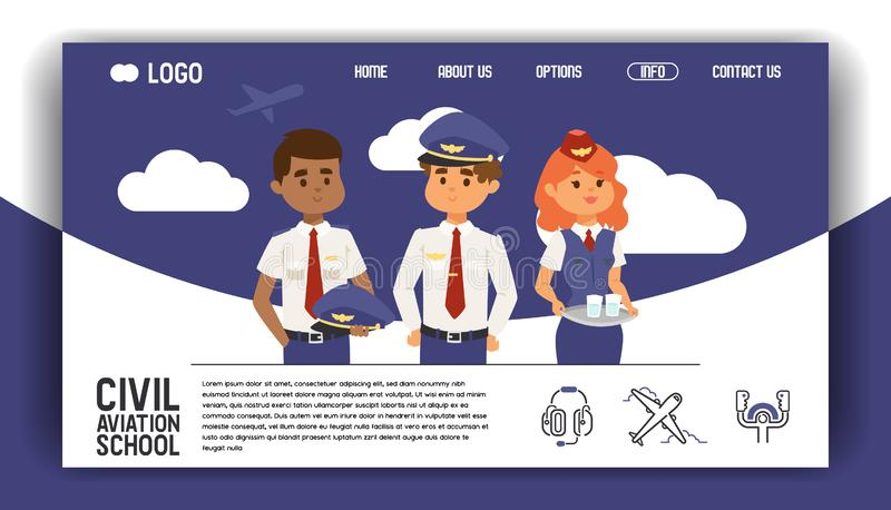 Aviation vector web page flight crew air-hostess pilot people traveling on aircraft plane airplane flying to airport. Illustration avia transportation backdrop stock illustration