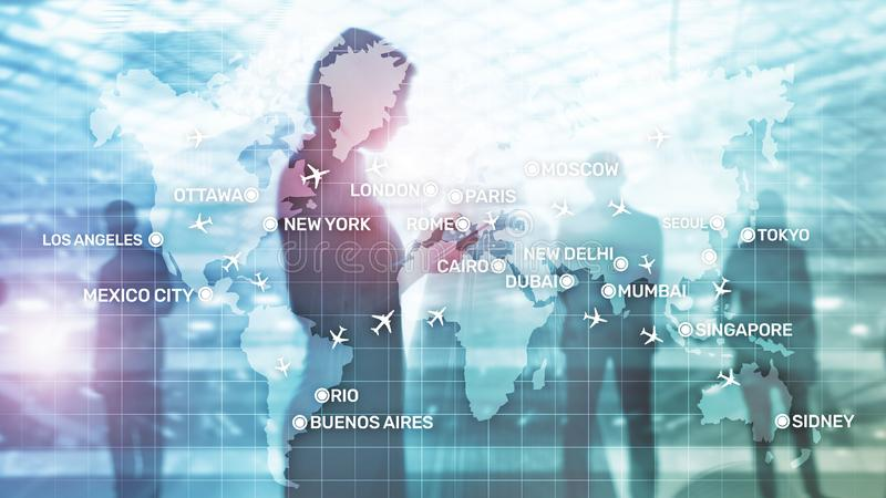 Aviation wallpaper with planes over the map with major city names. Digital map with planes around the world concept royalty free stock images