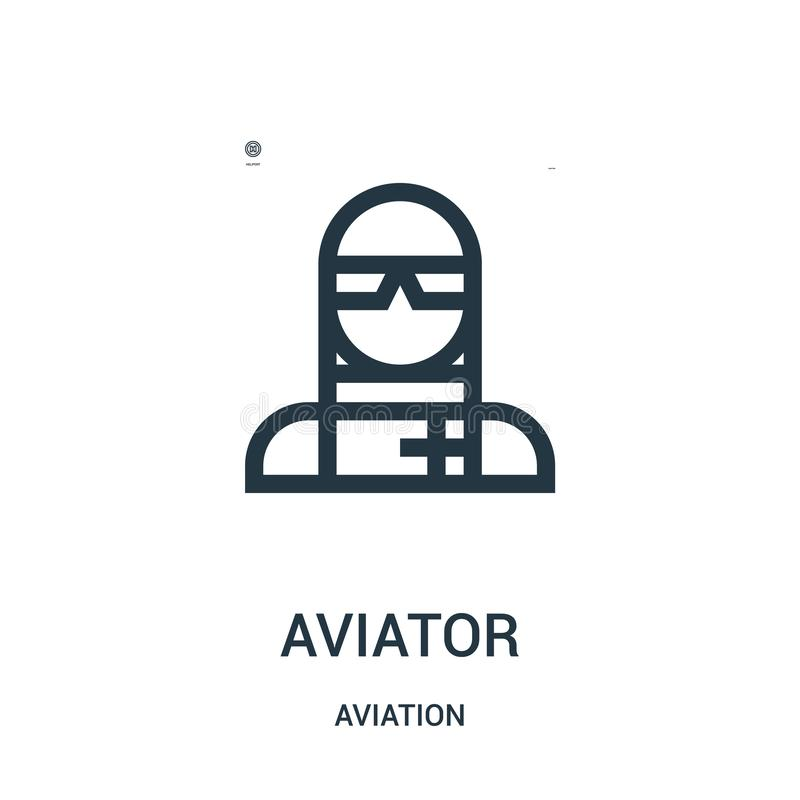 Aviator icon vector from aviation collection. Thin line aviator outline icon vector illustration. Linear symbol for use on web and. Mobile apps, logo, print vector illustration