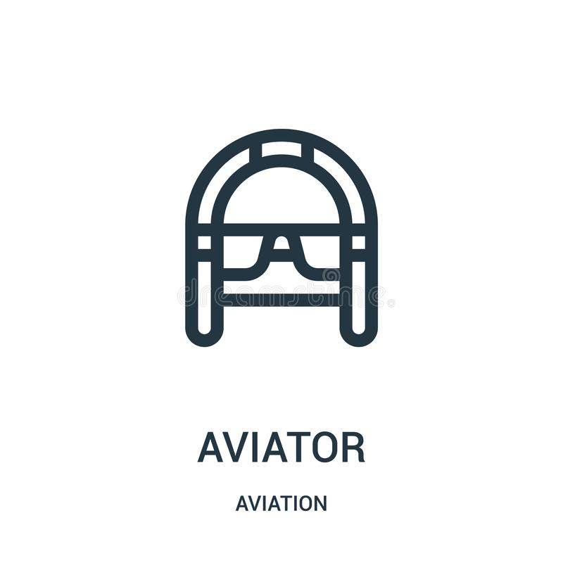 Aviator icon vector from aviation collection. Thin line aviator outline icon vector illustration. Linear symbol for use on web and. Mobile apps, logo, print royalty free illustration
