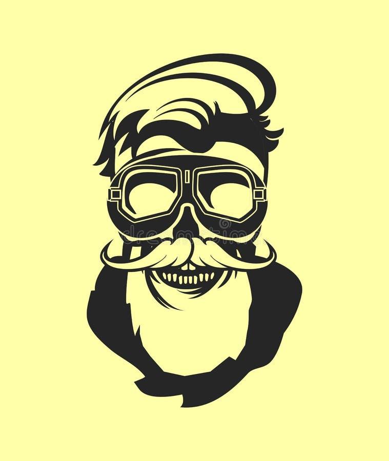 Aviator skull emblem. Dead pilot vector image of skull in helmet poster black and white royalty free illustration