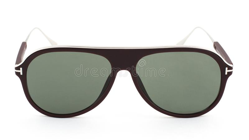 Aviator sun glasses on a white background. Side view royalty free stock images