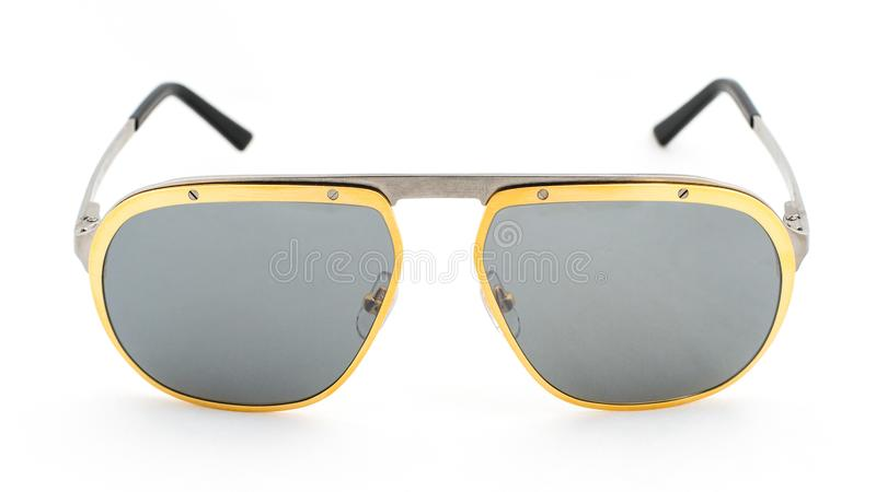 Aviator sun glasses on a white background. Side view royalty free stock photo