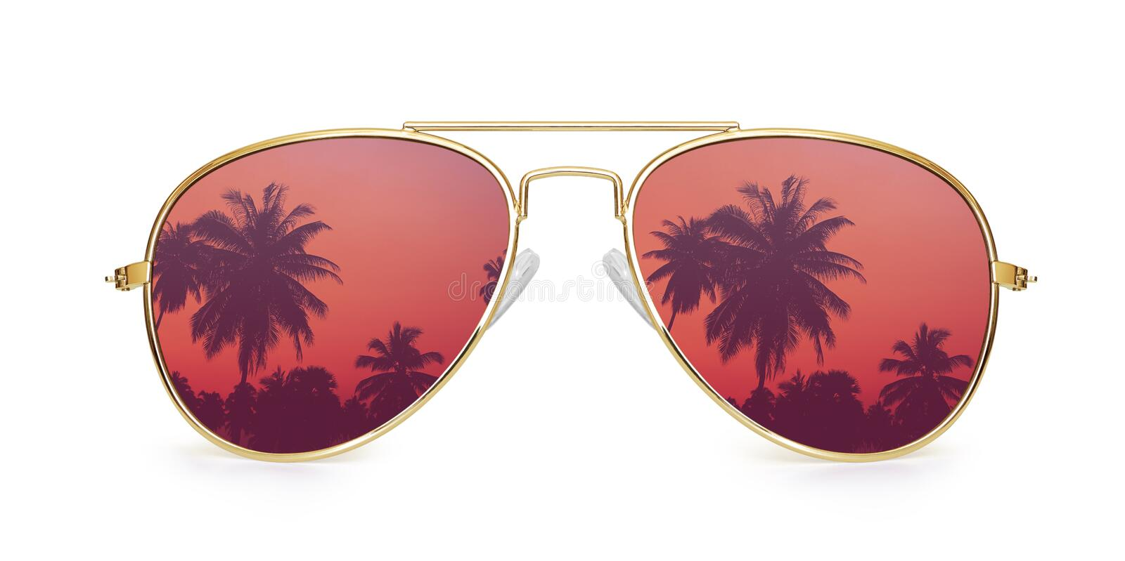 Aviator sunglasses with palm tree reflection stock photo