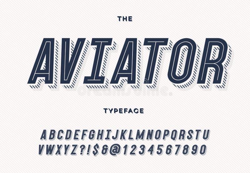 Aviator trendy typeface stock illustration