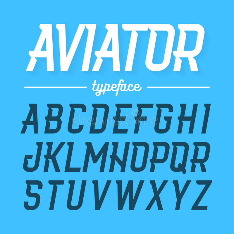 Aviator typeface royalty free illustration