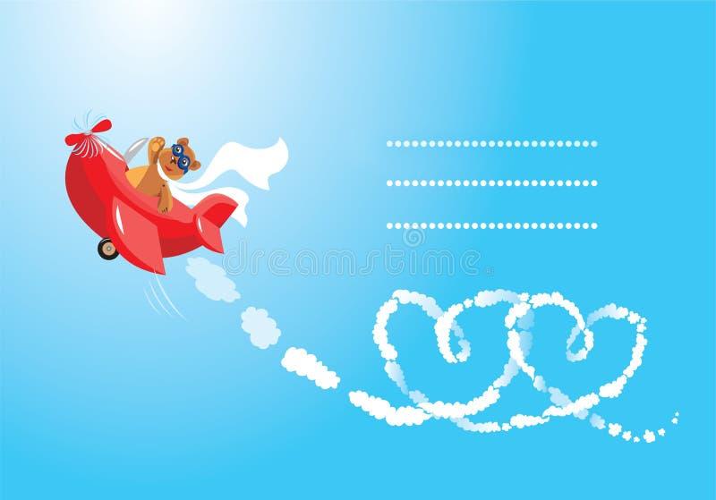Aviatore dell'orso dell'orsacchiotto nell'amore. royalty illustrazione gratis