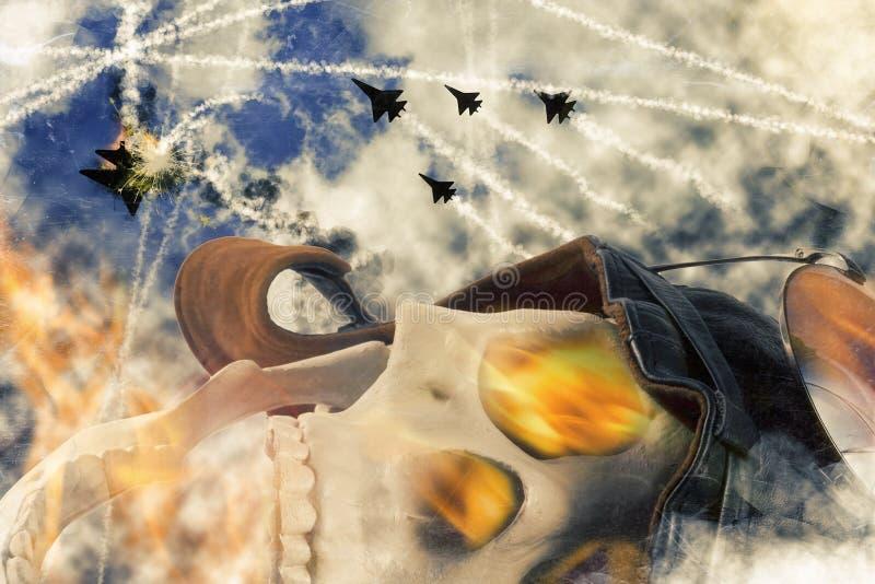 Aviatore morto Skull fotografia stock libera da diritti