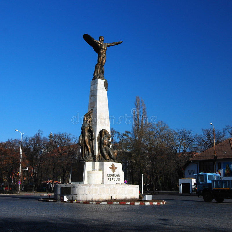 Aviators Hero Memorial. A view of a monument and statue in Aviator's Square in Bucharest, Romania, erected to honor all Romanian airmen who have died in air stock image