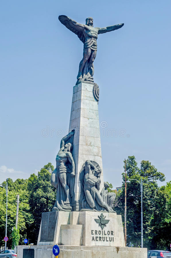 The Aviators Statue from Bucharest. Romania stock image