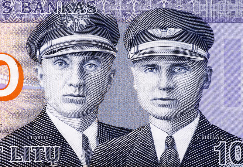 Aviators Steponas Darius & Stasys Girenas. Aviators Steponas Darius (1896-1933) and Stasys Girenas (1893-1933) on 10 Litu 2007 Banknote from Lithuania royalty free stock photography