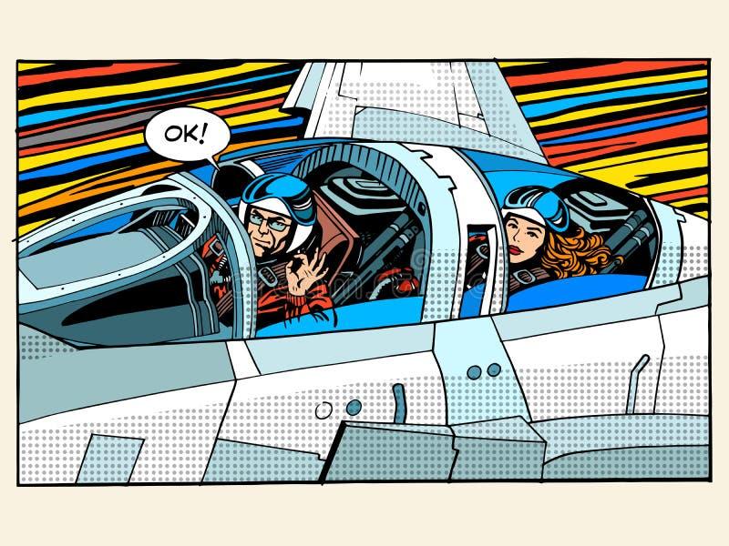 Aviazione pilota di successo della donna dell'uomo dell'aereo di combattimento illustrazione vettoriale