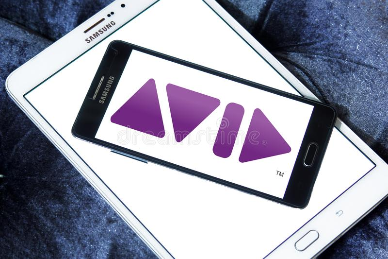 Avid Technology company logo. Logo of Avid Technology company on samsung mobile. Avid Technology is an American technology and multimedia company royalty free stock images