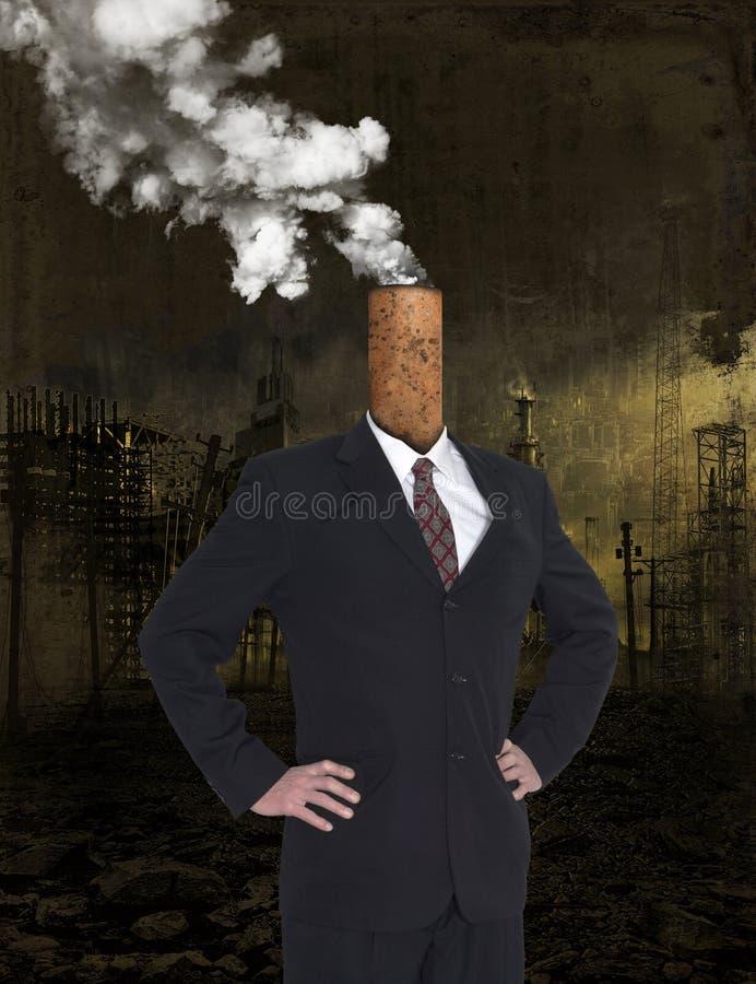 Avidez do negócio, lucro, aquecimento global, poluição foto de stock royalty free
