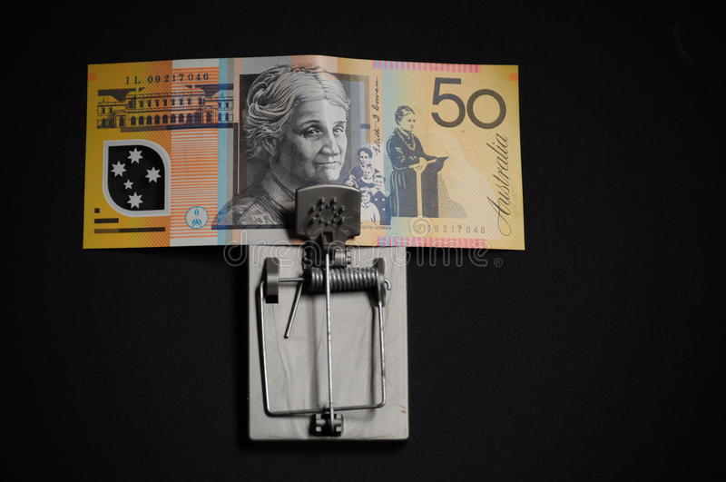 Avidité et Australien financier de piège de tentation cinquante dollars image stock