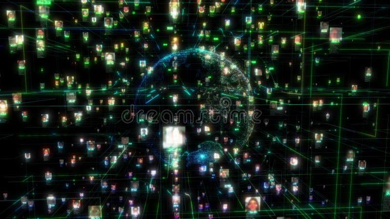 Avidité sociale de connexion de personnes de réseau Le grand concept de données, pléthore de personnes se relient sur l'Internet, illustration libre de droits