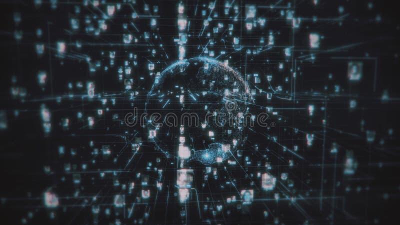 Avidité sociale de connexion de personnes de réseau Le grand concept de données, pléthore de personnes se relient sur l'Internet, illustration de vecteur
