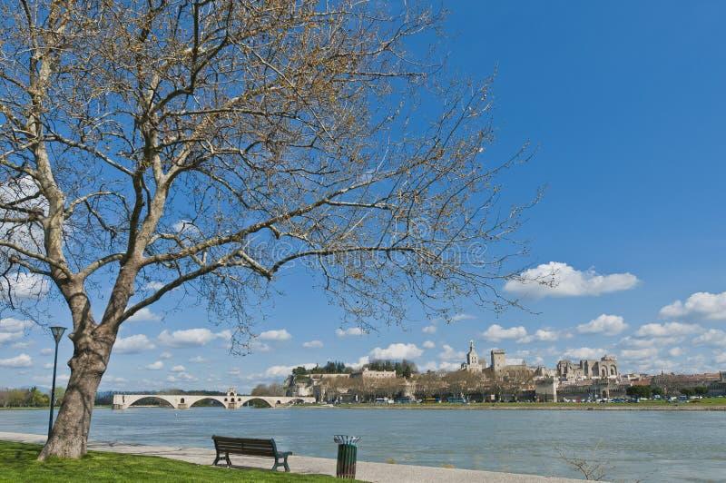 Avignon à travers le fleuve de Rhône, France image libre de droits
