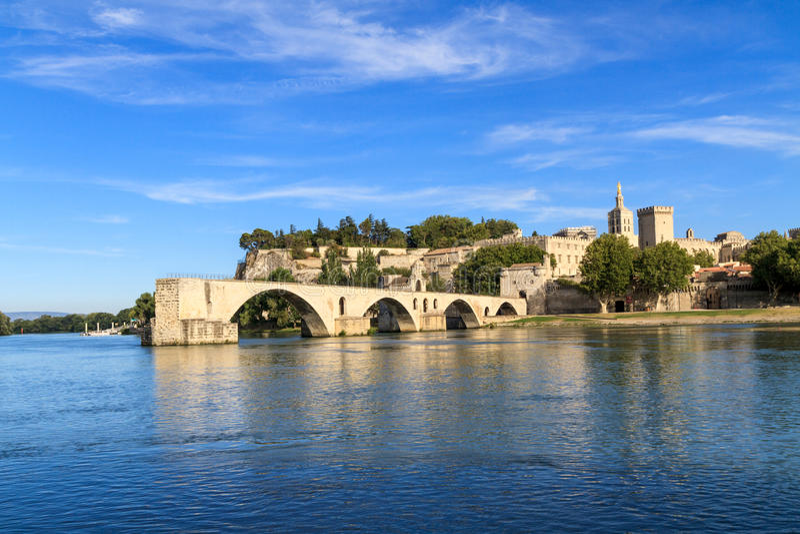 Avignon Bridge and Popes Palace, France royalty free stock photography