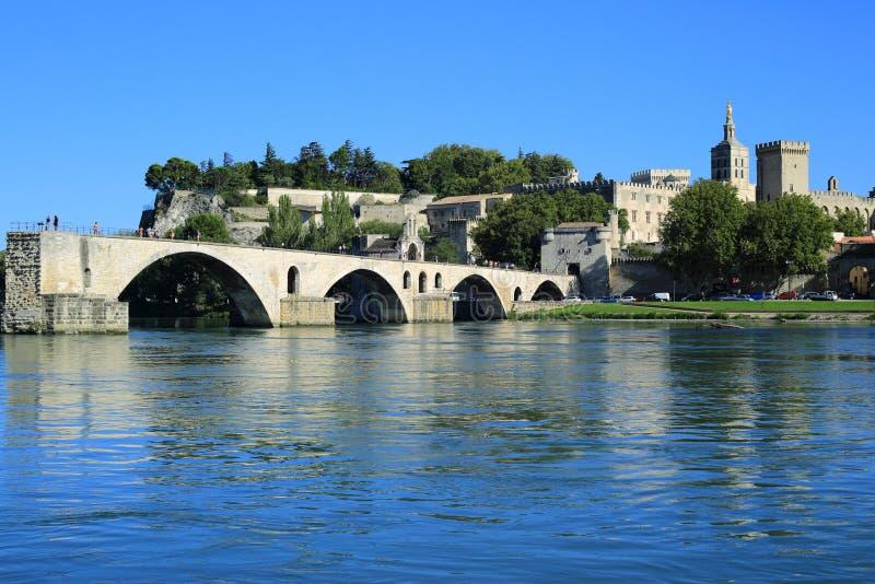 Avignon Bridge with Popes Palace, Pont Saint-Benezet, Provence, royalty free stock images