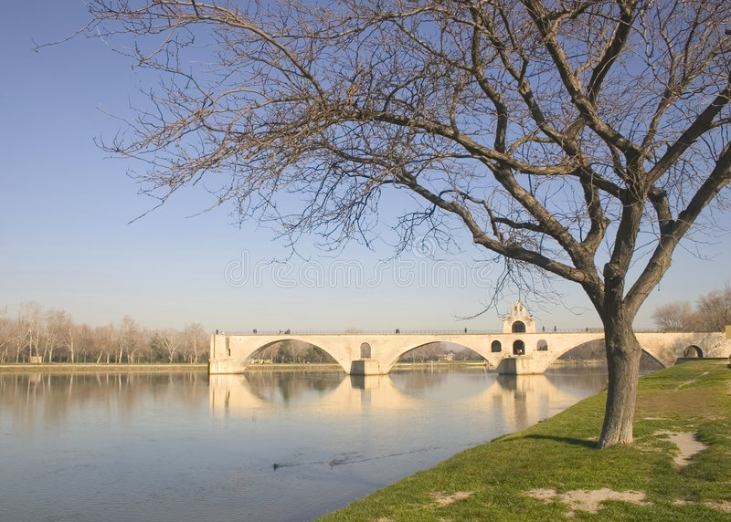 Avignon bridge in winter, France, Europe royalty free stock photo