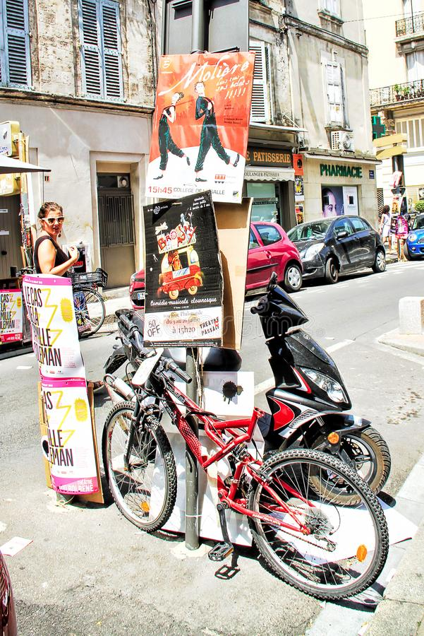 Avignon Theatre Festival. AVIGNON, FRANCE – JULY 05, 2015: plenty of playbills on a wall during famous theatre festival from July 03 to 27 2014 in Avignon stock photos