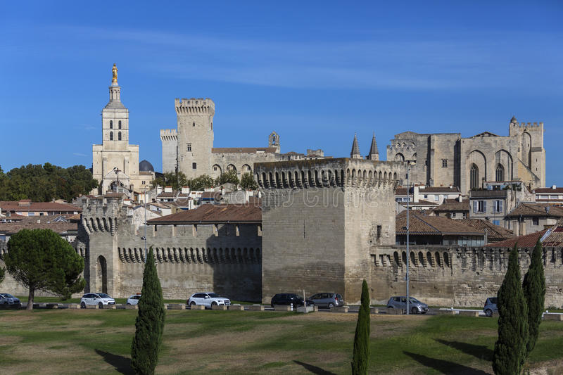 Avignon - France. City Walls, Avignon Cathedral and the Palais des Papes in the city of Avignon in southeast France in the department of Vaucluse on the left royalty free stock images