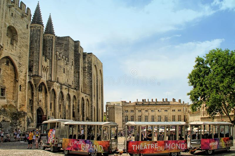 Avignon Theatre Festival. AVIGNON, FRANCE – JULY 05, 2015: the tourist train advertising the famous theatre festival  in Avignon -  the most important royalty free stock images