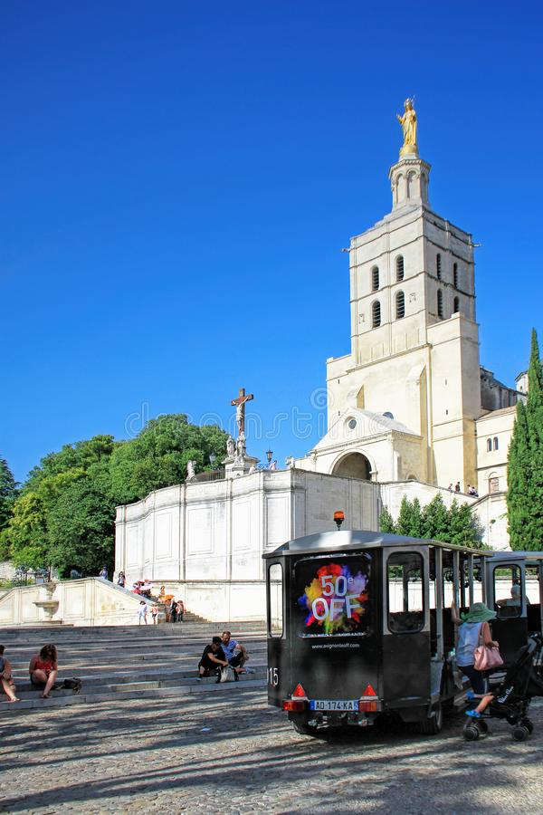 Avignon Theatre Festival. AVIGNON, FRANCE – JULY 04, 2015: the tourist train advertising the famous theatre festival  in Avignon -  the most important royalty free stock photos