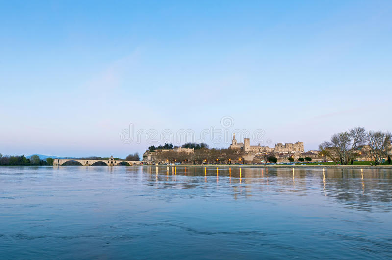 Download Avignon From The Other Shore Of The Rhone River, France Stock Image - Image of fortified, edifices: 39508969