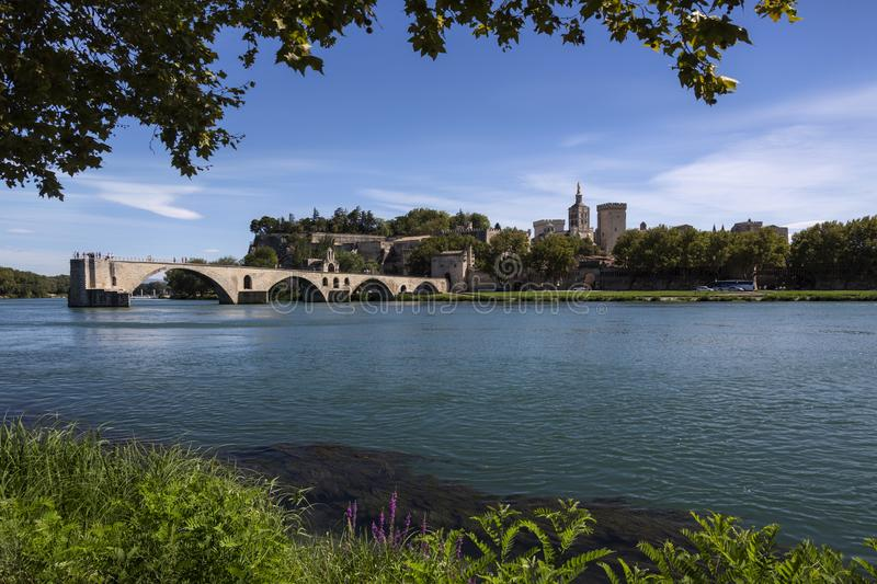 Avignon on the Rhone River - France. The city of Avignon in the department of Vaucluse on the left bank of the Rhone River in France. it was the residence of the royalty free stock photography