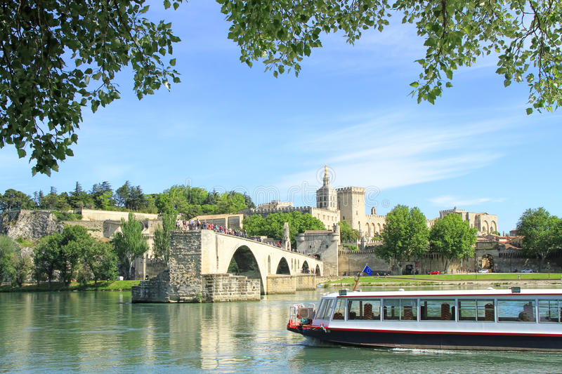 Avignon's bridge and The Popes Palace in Avignon, France stock photography