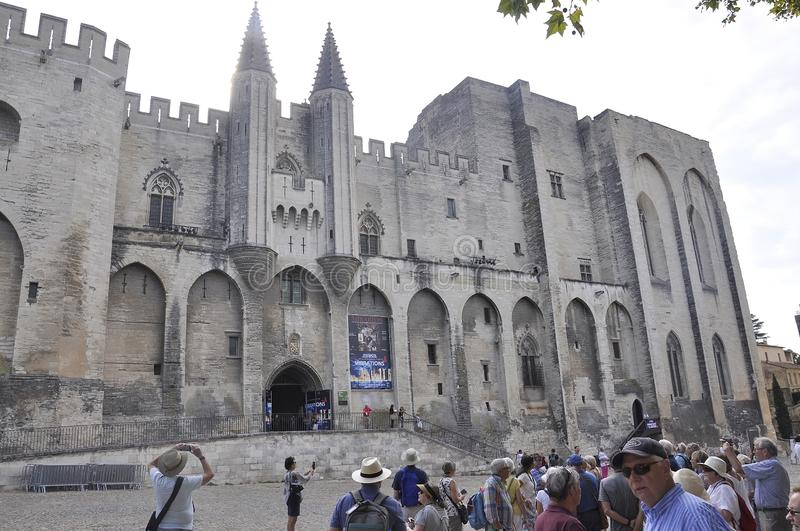 Avignon, 10th september: Palais des Papes or Palace of Popes building from Avignon Popes Site in Provence France stock photo