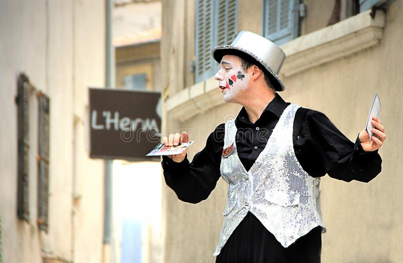 Avignon Theatre Festival. AVIGNON, FRANCE – JULY 19, 2014: Actor on stilts advertising his performance during famous theatre festival from July 4 to 27 stock photography