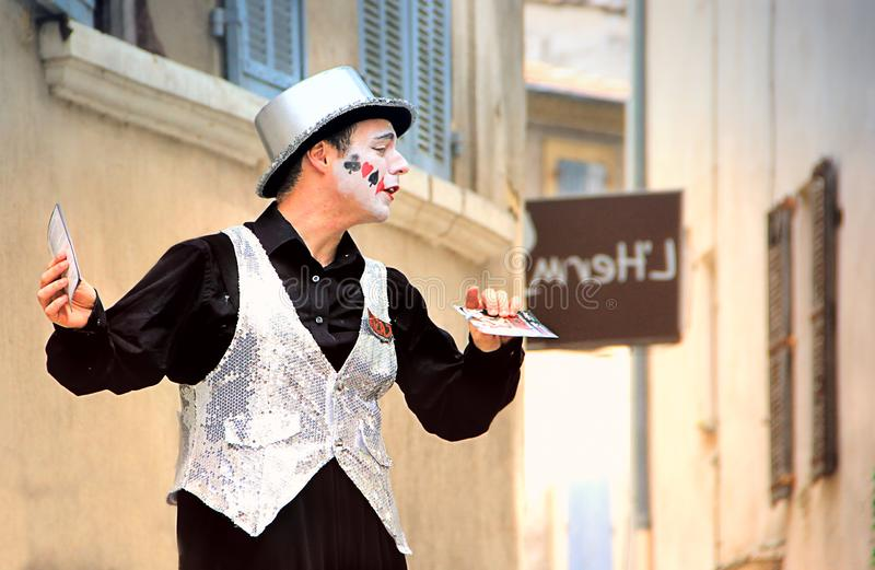 Avignon Theatre Festival. AVIGNON, FRANCE – JULY 19, 2014: Actor on stilts advertising his performance during famous theatre festival from July 4 to 27 royalty free stock photography