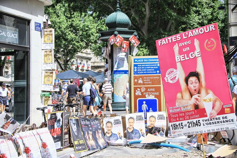 Avignon Theatre Festival. AVIGNON, FRANCE – JULY 05, 2015: plenty of playbills on a wall during famous theatre festival from July 4 to 27 2014 in Avignon stock photos