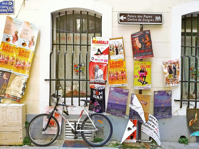 Avignon Theatre Festival. Avignon, France 28 Juillet 2019: Plenty of playbills on a wall during famous theatre festival from July 4 to 28 2019 in Avignon, south royalty free stock photography